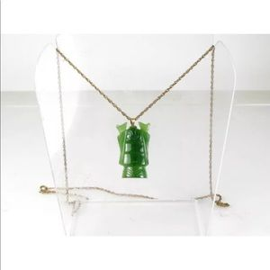 Vintage Gold Filled Carved Natural Jade Necklace